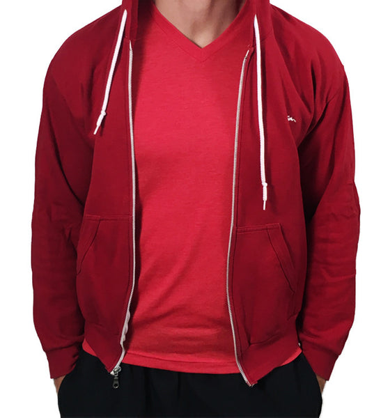Mens Sweatshirt Zipped Hoodie Red