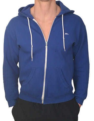 Mens Sweatshirt Zipped Hoodie Blue