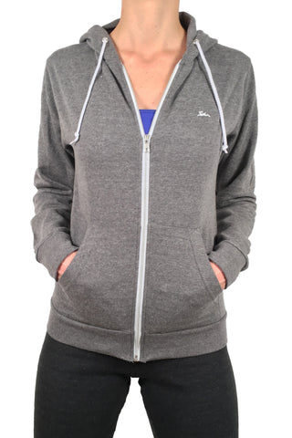 Ladies Thin Zipped Hoodie Grey