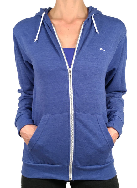 Ladies Thin Zipped Hoodie Royal Blue