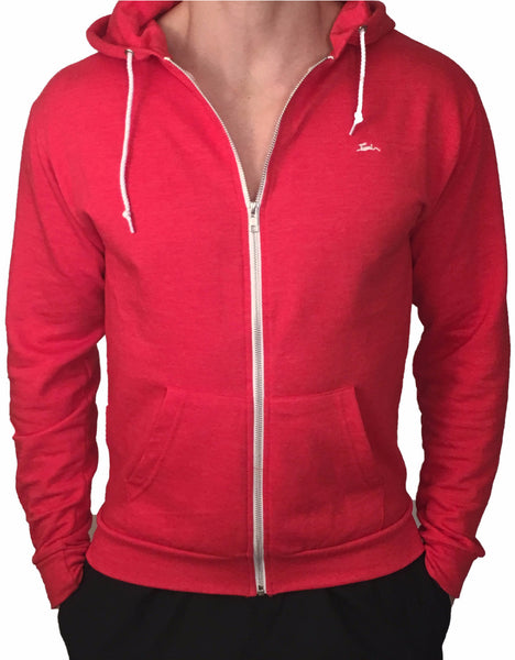 Mens Zipped Hoodie Red