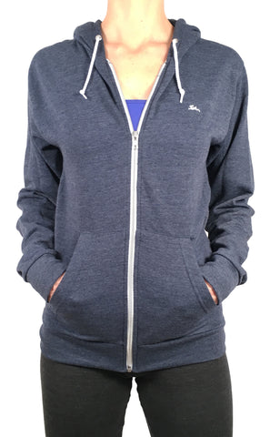 Ladies Thin Zipped Hoodie Navy