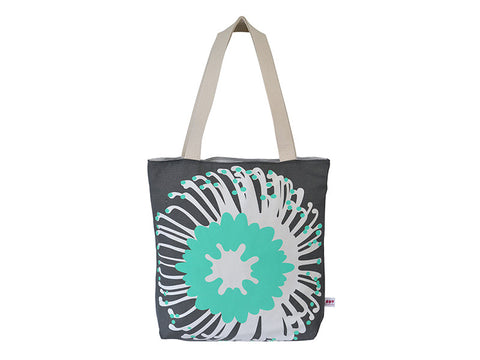 ispy aqua blue and charcoal grey protea flower tote bag