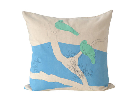 """Bird Scribbles"" cushion cover in duck-egg blue, aqua and charcoal"
