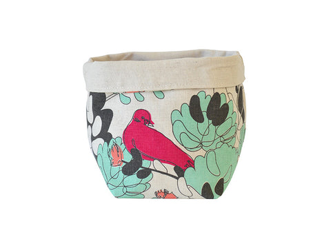 """Jellybean Jungle"" fabric basket in mint, papaya, fuchsia and charcoal"