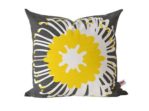 """Giant Pin"" Cushion Cover in Sunshine and Charcoal"