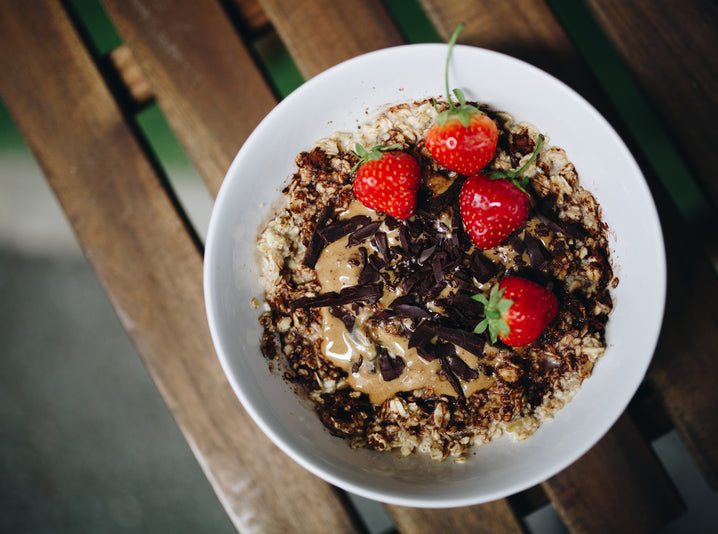 Dark Chocolate Porridge with Strawberries