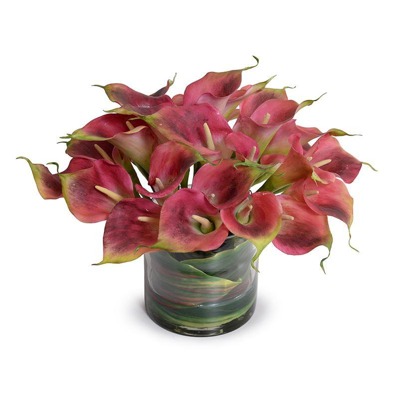 Calla Lily Arrangement in Leaf Lined Glass - Burgundy - New Growth Designs