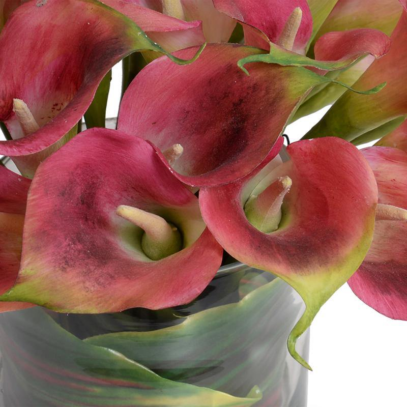 Calla Lily Arrangement in Leaf Lined Glass - Burgundy
