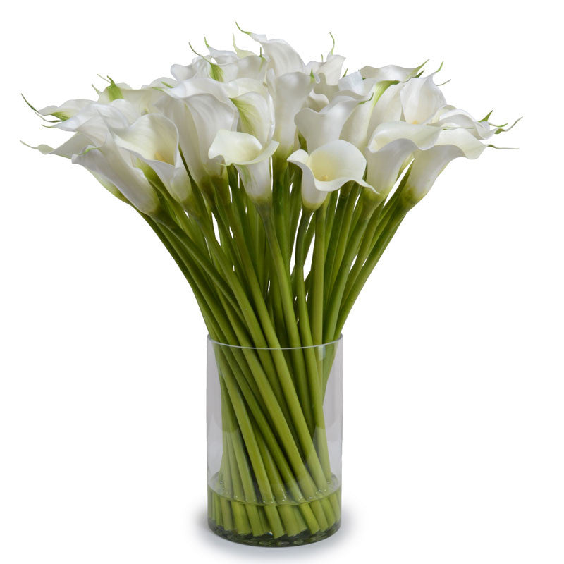 Calla Lily Arrangement In Tall Glass White New Growth Designs