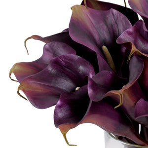 Calla Lily Arrangement in Glass - Purple