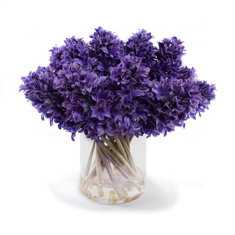 Hyacinth Bouquet In Glass Purple New Growth Designs