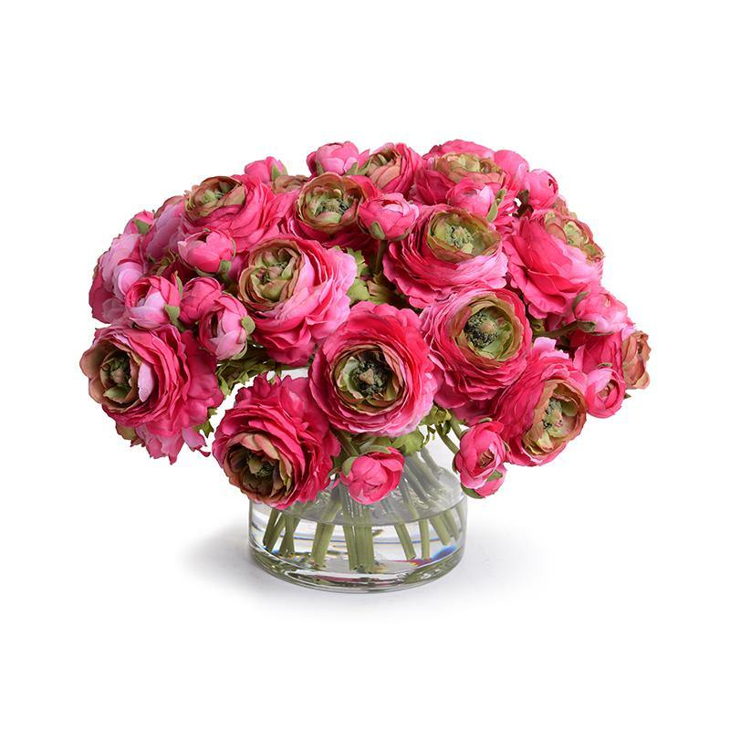 Ranunculus Bouquet in Glass - Pink