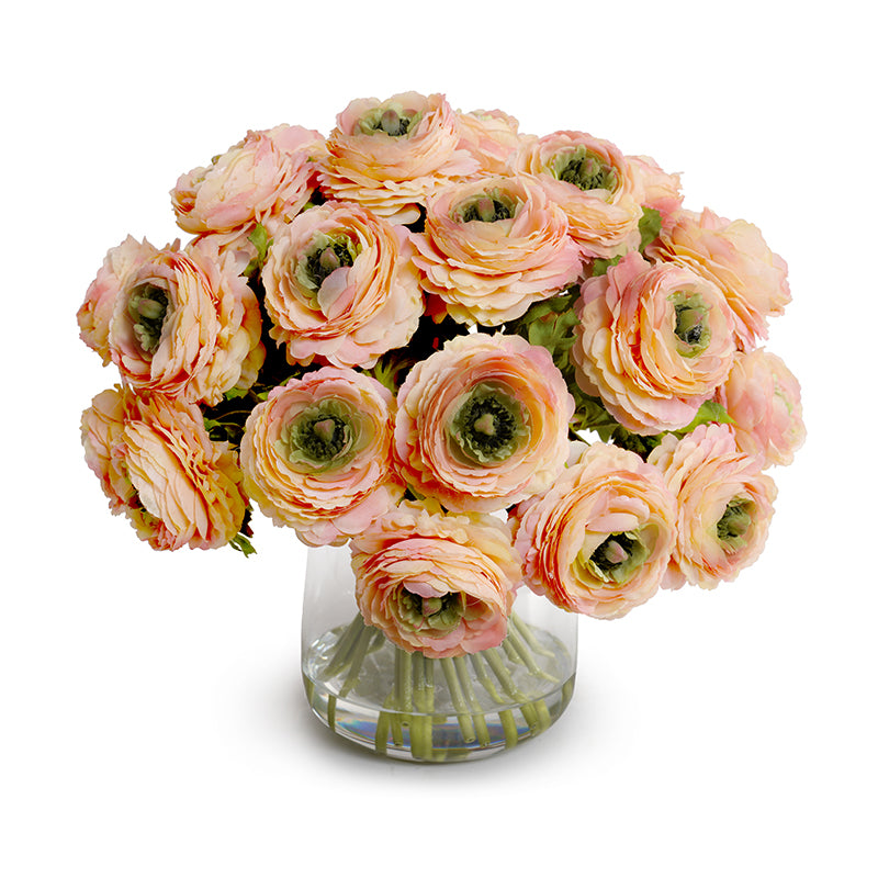 Ranunculus Bouquet in Glass - Peach