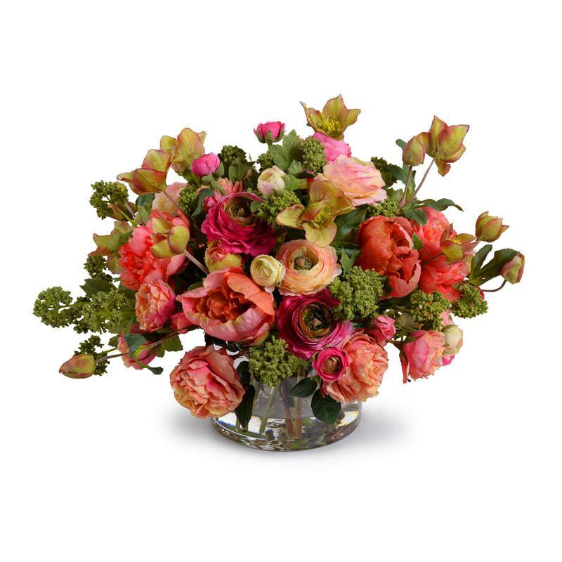 Mixed Flowers Arrangement in Glass Cylinder