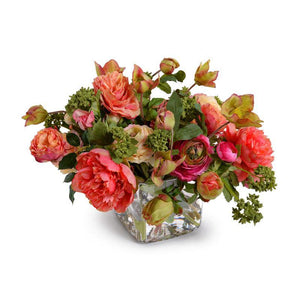 Mixed Flowers Arrangement in Glass Cube