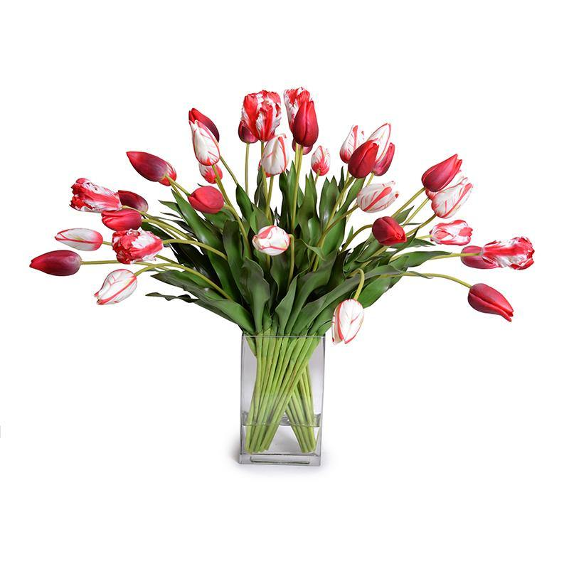 Tulip Arrangement - Red-White