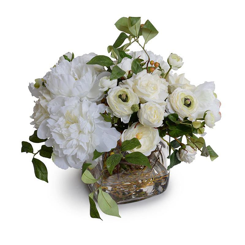 Mixed White Garden Bouquet in Glass Cube - New Growth Designs