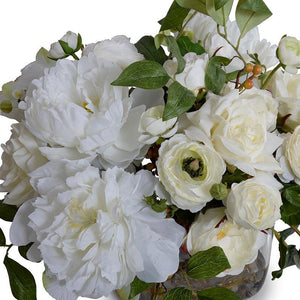 Mixed White Garden Bouquet in Glass Cube