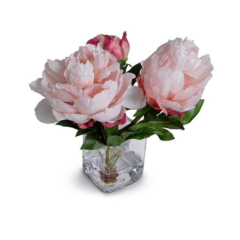 Peony Cutting in Glass - Pink Fuchsia