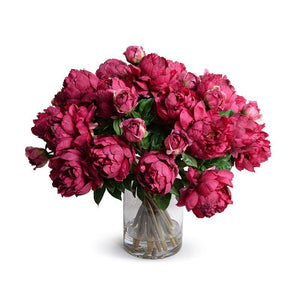 Peony Bouquet in Glass Cylinder (Large) - Fuchsia