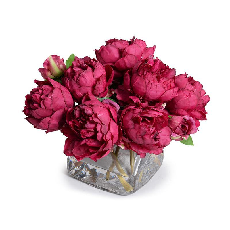 Peony Bouquet in Glass Cube (Large) - Fuschia