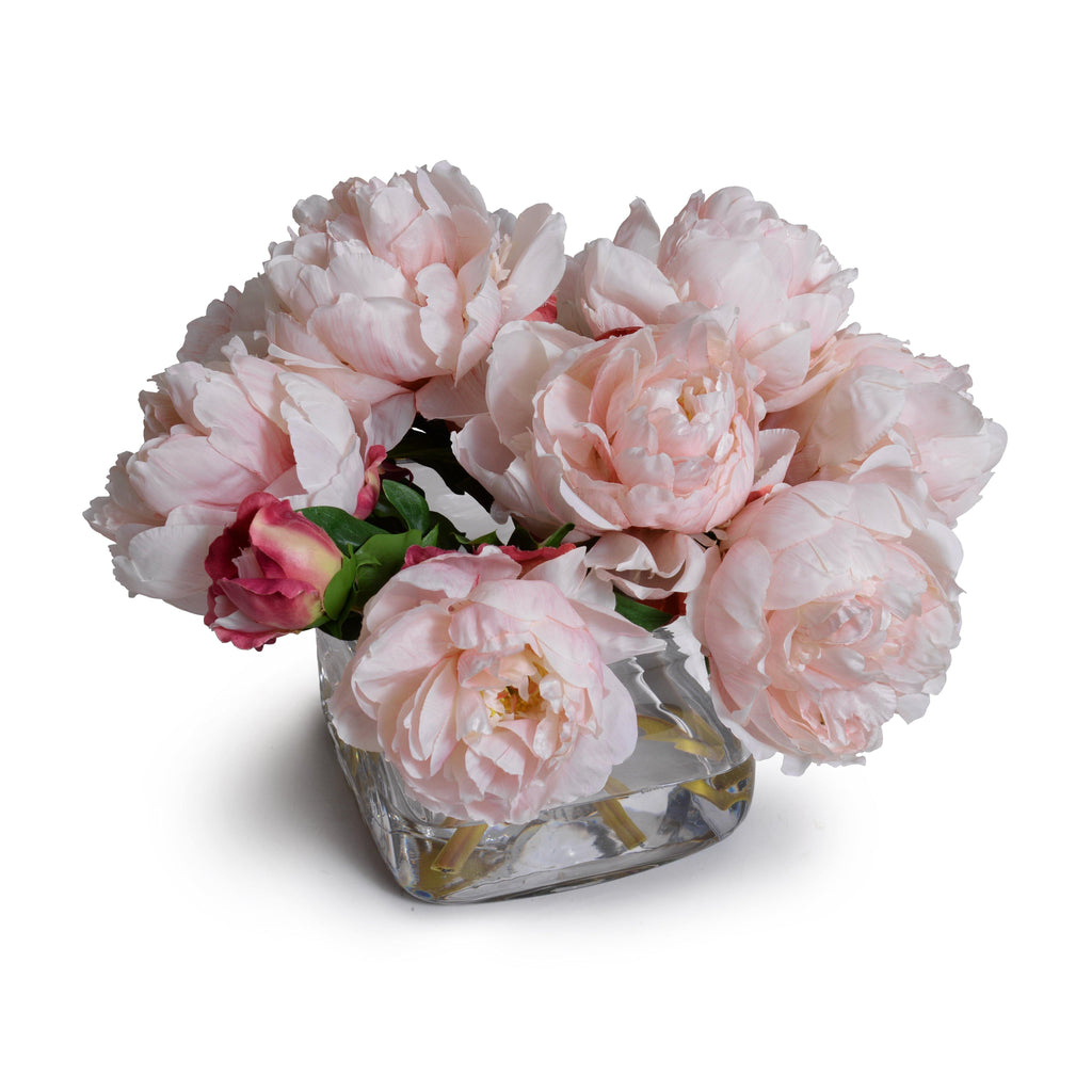 Peony Bouquet in Glass Cube (Large) - Pink