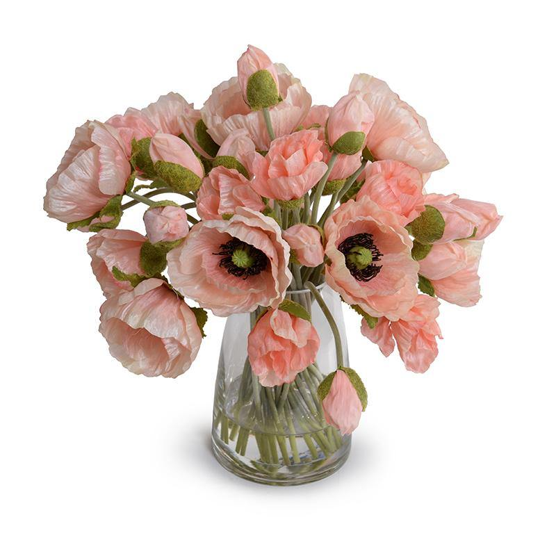 Poppy Bouquet in Glass Bucket - Pink - New Growth Designs