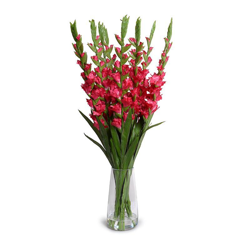Gladiolus Arrangement in Glass - Fuchsia
