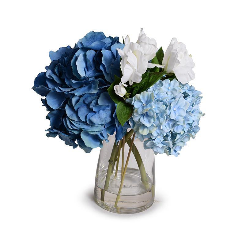 Hydrangea with Gardenia Bouquet in Glass