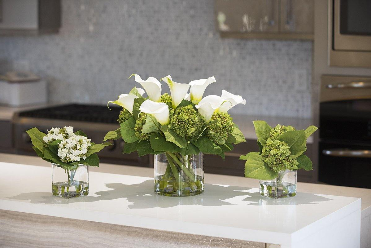 Calla Lily, Hydrangea Buds Arrangement in Glass - Mixed