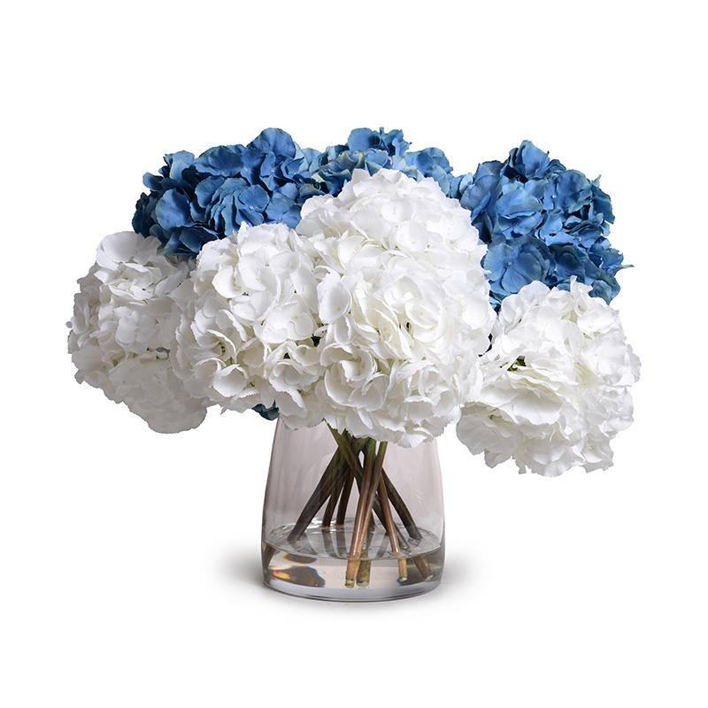 Mixed Hydrangea in Large Glass Bucket