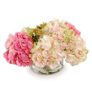 Hydrangea Bouquet in Glass Cylinder - Mixed