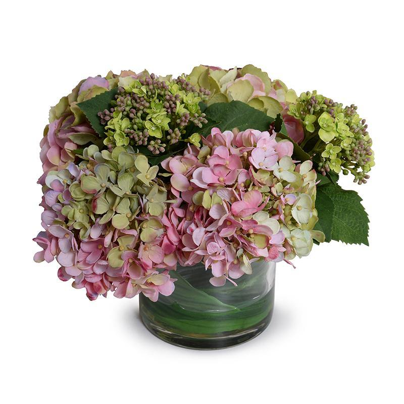 Hydrangea in Leaf Lined Glass - Pink Green