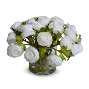 Ranunculus Bouquet in Glass - White