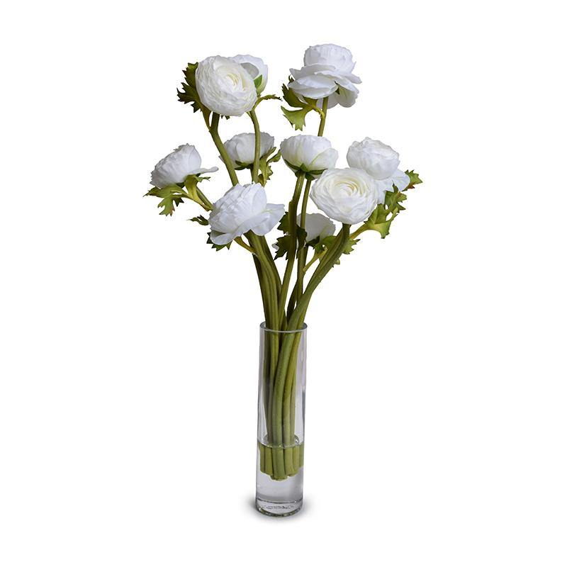 Ranunculus Arrangement in Tall Glass Vase - White