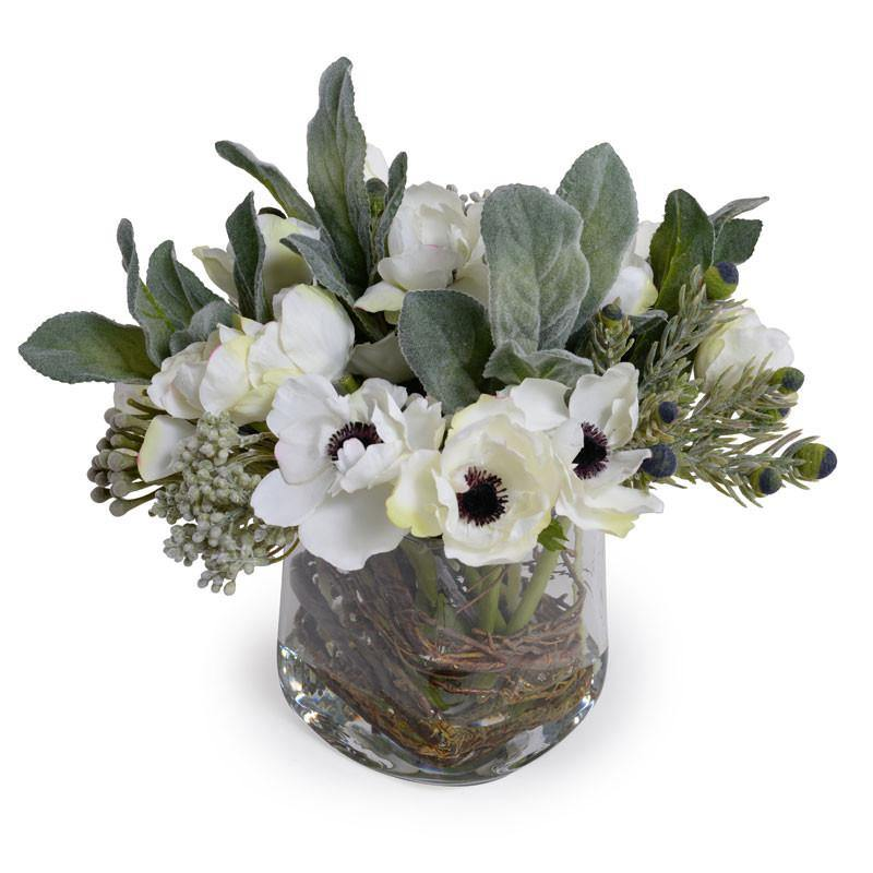 Mixed Flowers Arrangement - White-Gray