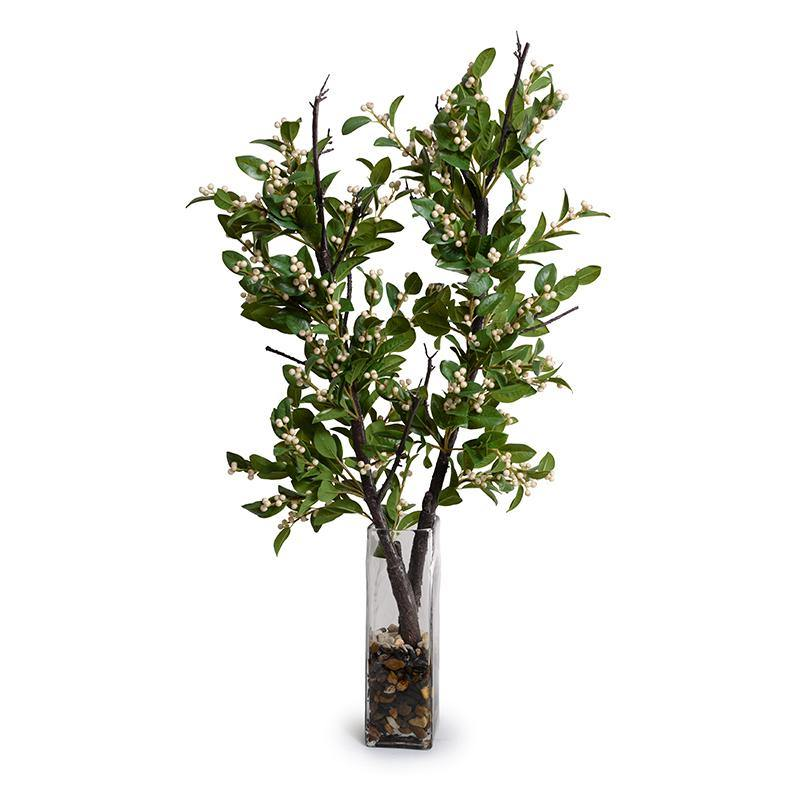 "Holly Branch with Berries in Glass, 38""H"