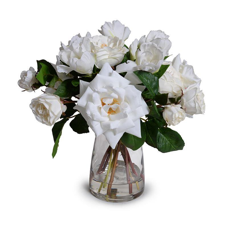Rose, Gardenia Bouquet in Glass Vase