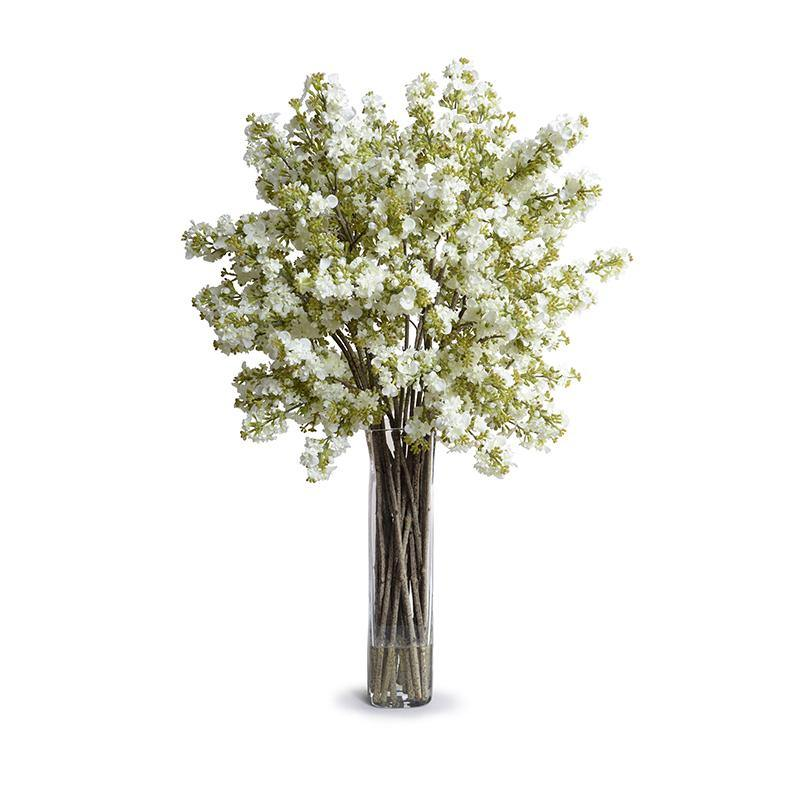 Lilac Arrangement in Glass - White