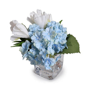 Hydrangea & Gardenia Cutting Arrangement in Glass - Mixed