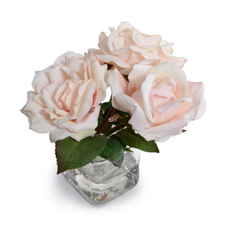 Rose Cutting in Glass - Cream Pink - New Growth Designs
