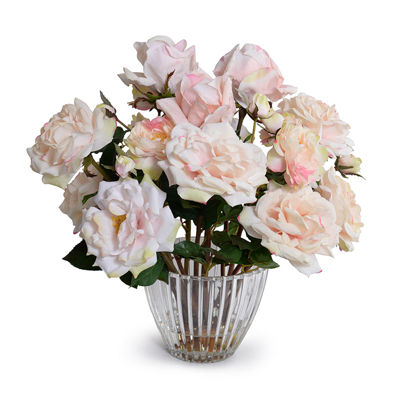Rose Bouquet in Crystal Vase - Pink