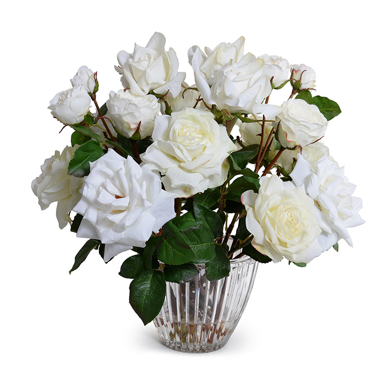 Rose Bouquet in Crystal Vase - White