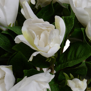 Gardenia Natural Touch Bouquet in Crystal Vase - White