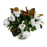 Magnolia, Gardenia Natural Touch Bouquet in Crystal Vase - White