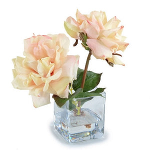 Rose Cutting in Glass - Cream-Pink