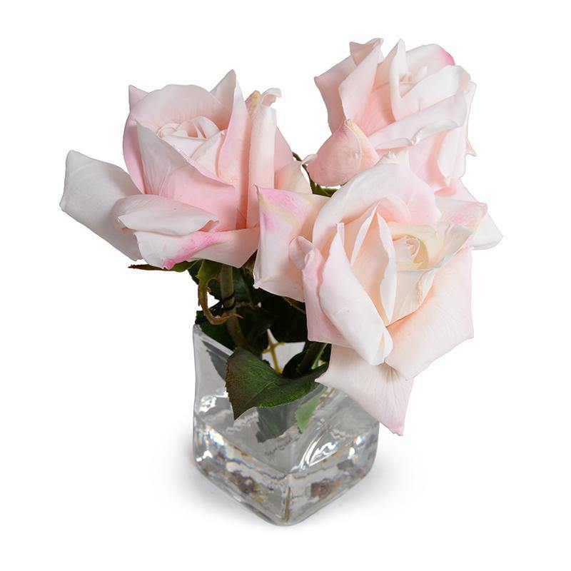 Rose Natural Touch Cutting in Glass - Pink