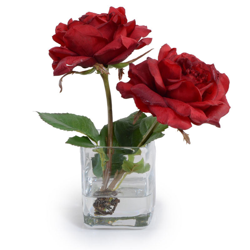 Rose Cutting in Glass - Red