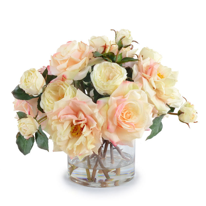 Rose Bouquet in Glass - Cream-Pink